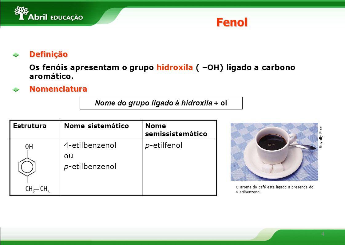 Nome do grupo ligado à hidroxila + ol