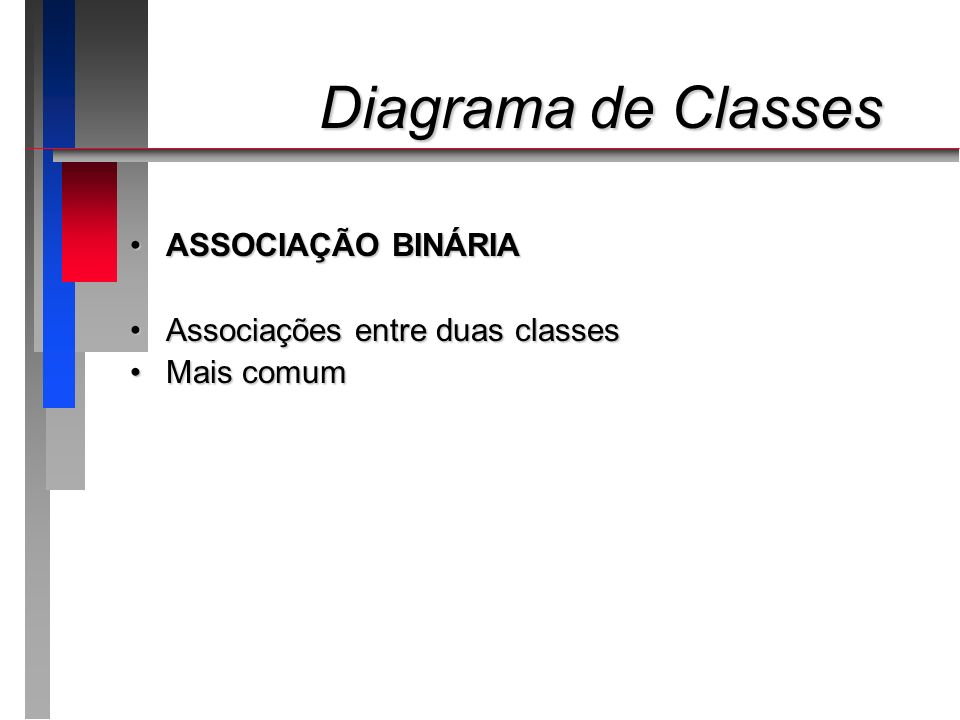 Diagrama de Classes ASSOCIAÇÃO BINÁRIA Associações entre duas classes