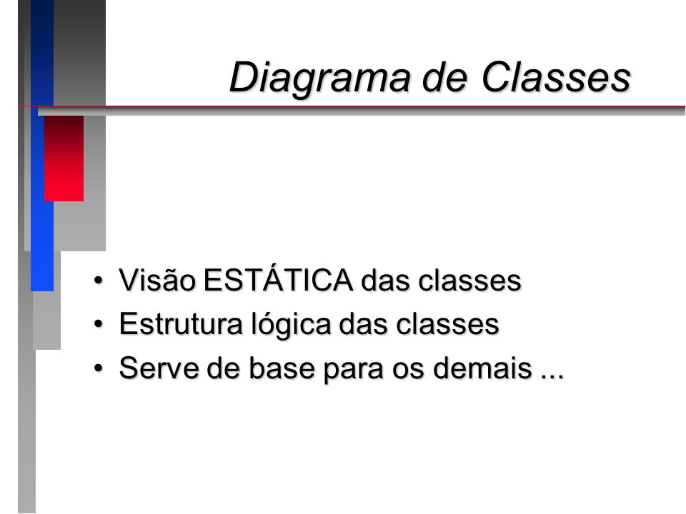 Diagrama de Classes Visão ESTÁTICA das classes