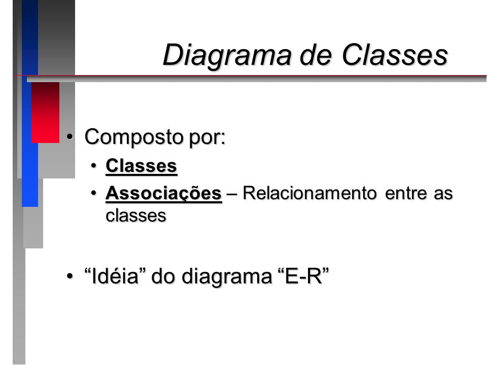 Diagrama de Classes Composto por: Idéia do diagrama E-R Classes