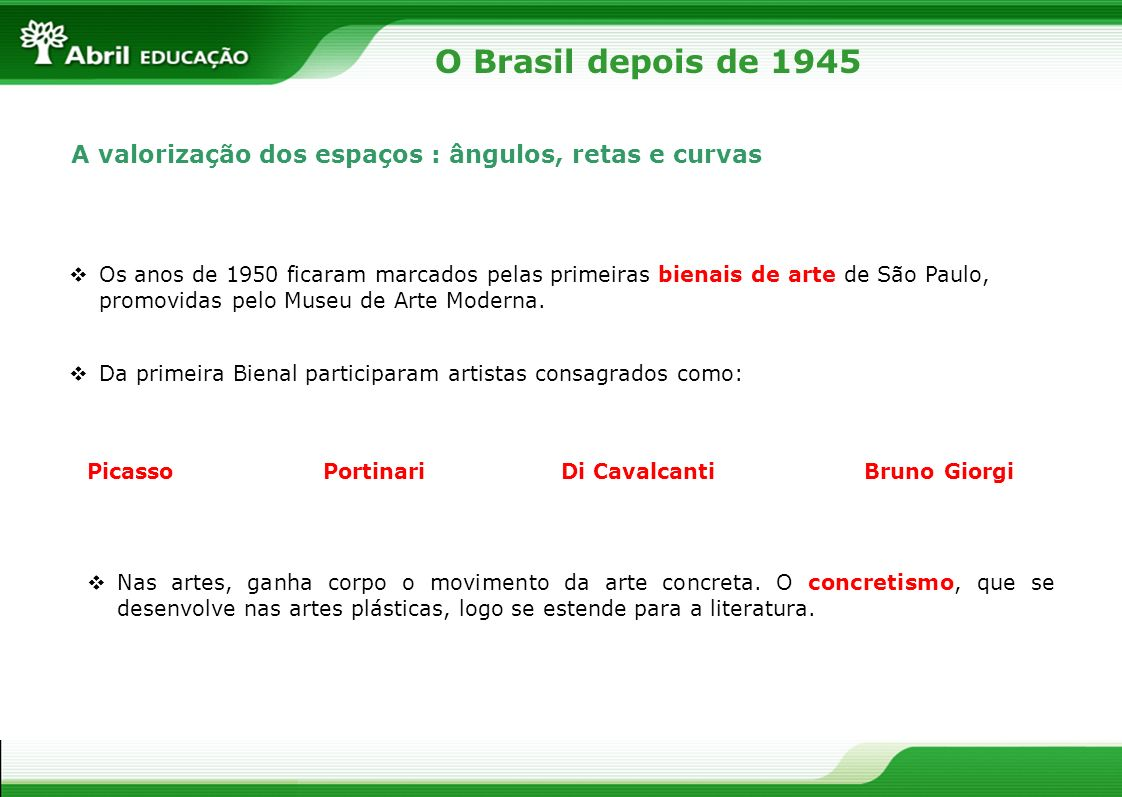 O Brasil depois de 1945A valorização dos espaços : ângulos, retas e curvas.