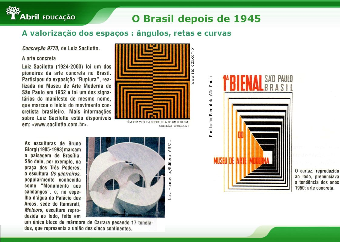O Brasil depois de 1945A valorização dos espaços : ângulos, retas e curvas. www.sacilotto.com.br. Fundação Bienal de São Paulo.