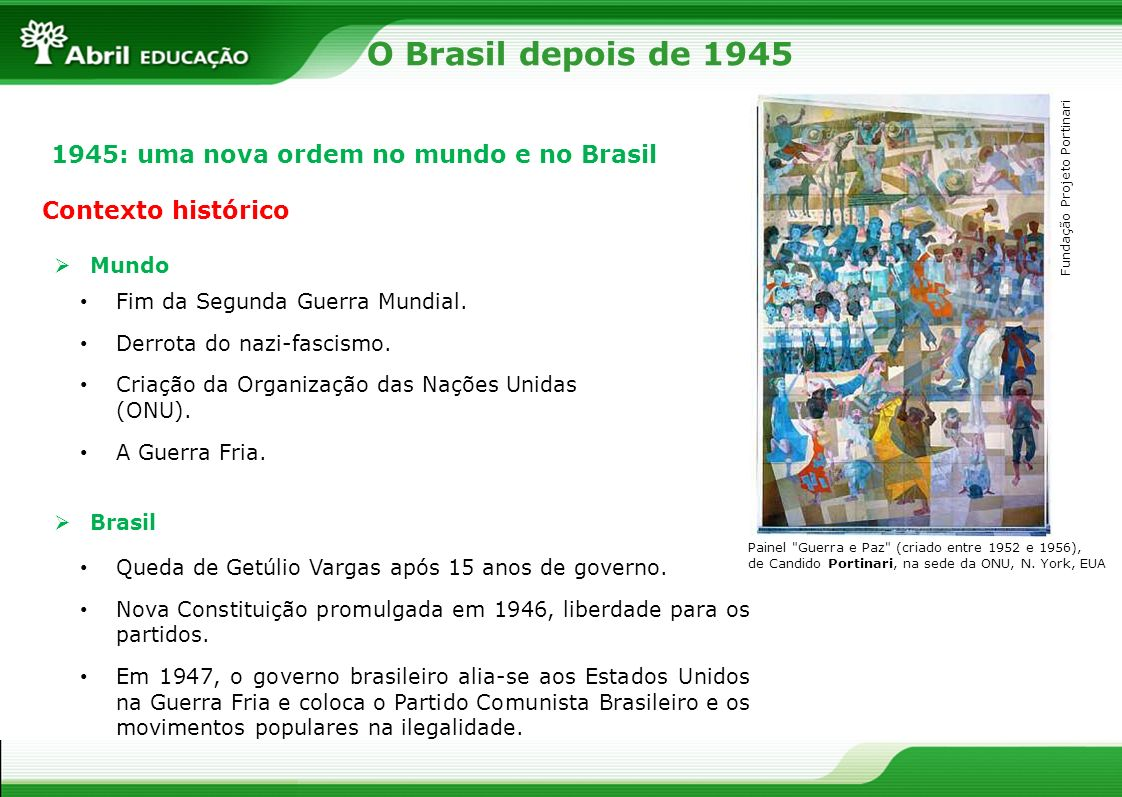 O Brasil depois de 1945 1945: uma nova ordem no mundo e no Brasil