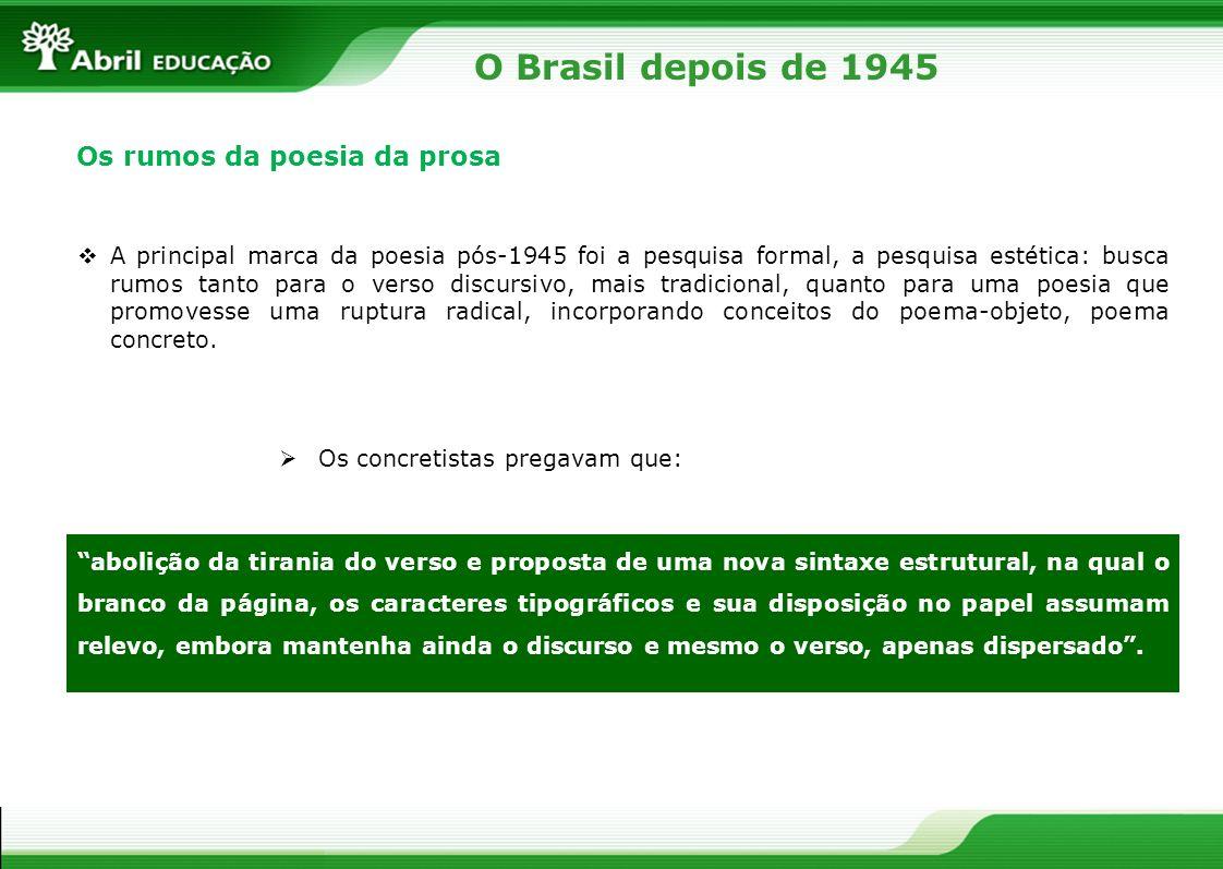 O Brasil depois de 1945 Os rumos da poesia da prosa