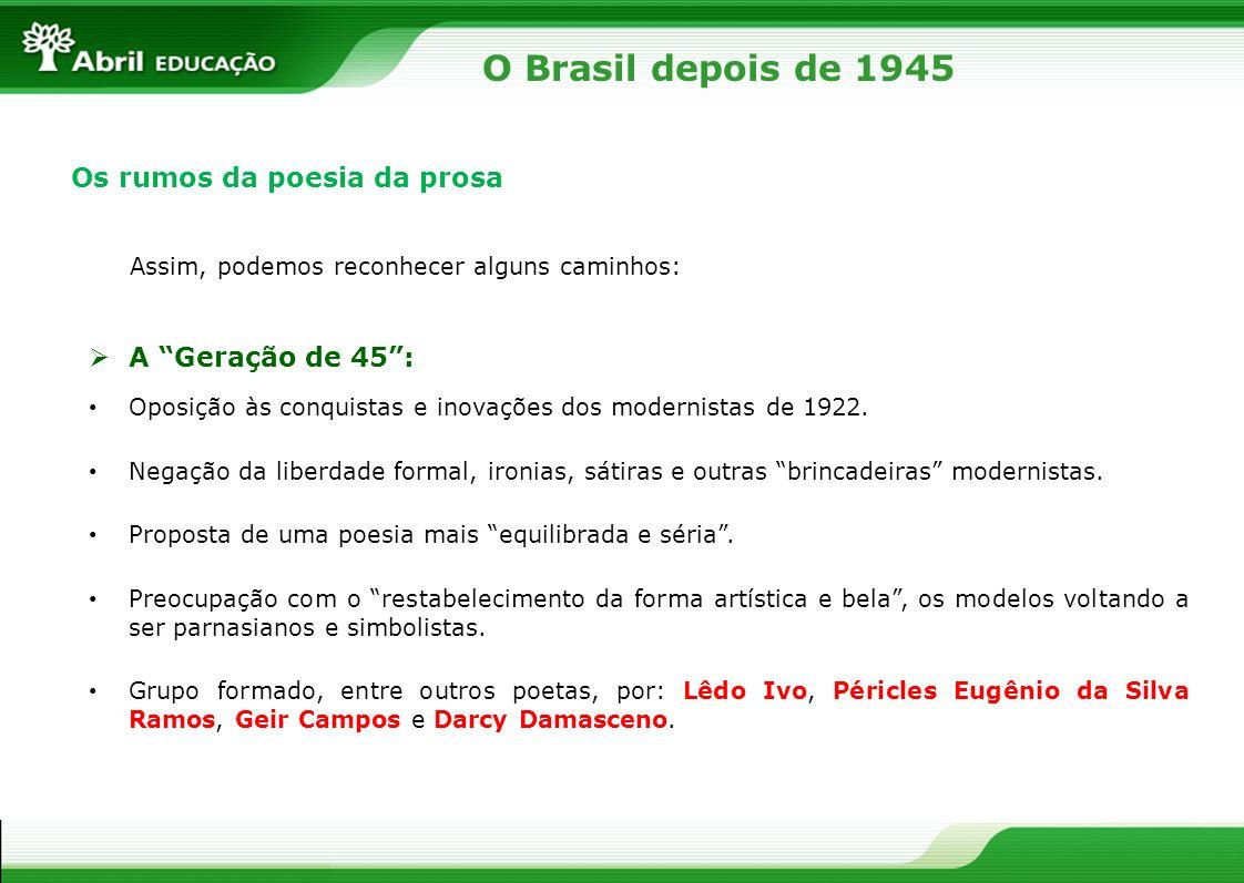 O Brasil depois de 1945 Os rumos da poesia da prosa A Geração de 45 :