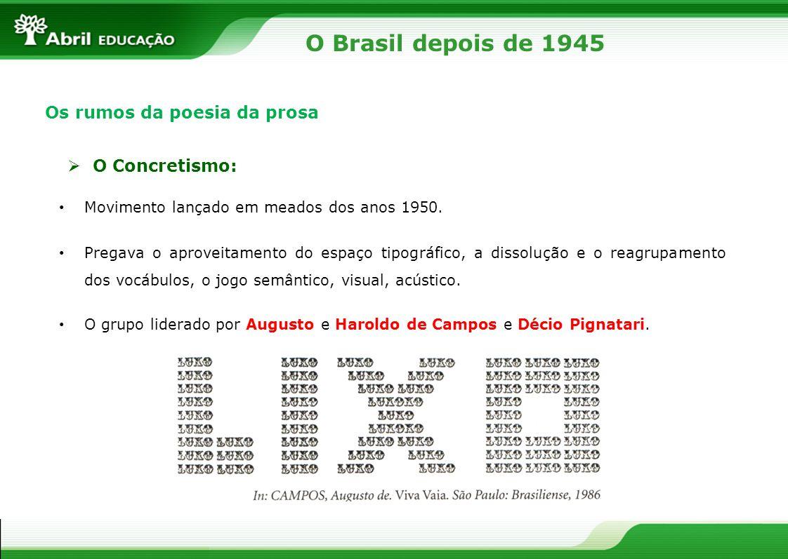O Brasil depois de 1945 Os rumos da poesia da prosa O Concretismo: