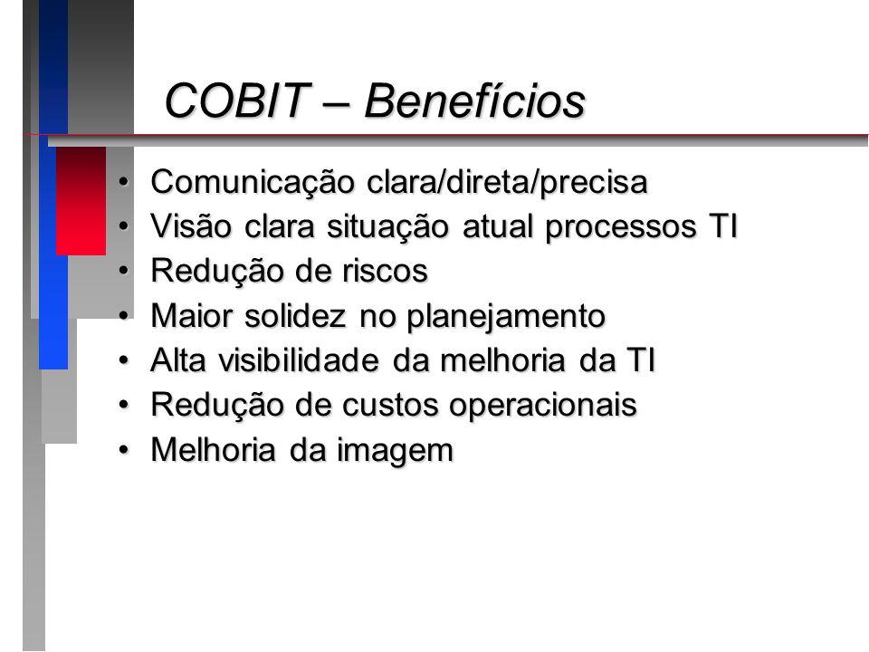 COBIT – Benefícios Comunicação clara/direta/precisa