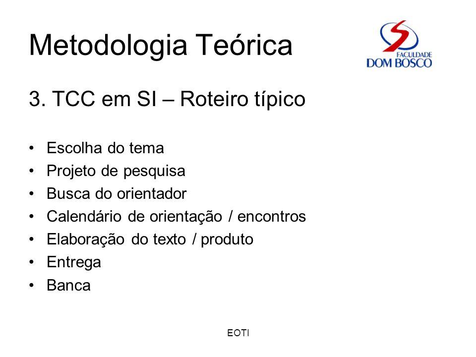 Metodologia Teórica 3. TCC em SI – Roteiro típico Escolha do tema