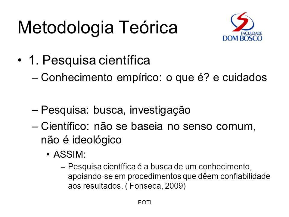 Metodologia Teórica 1. Pesquisa científica