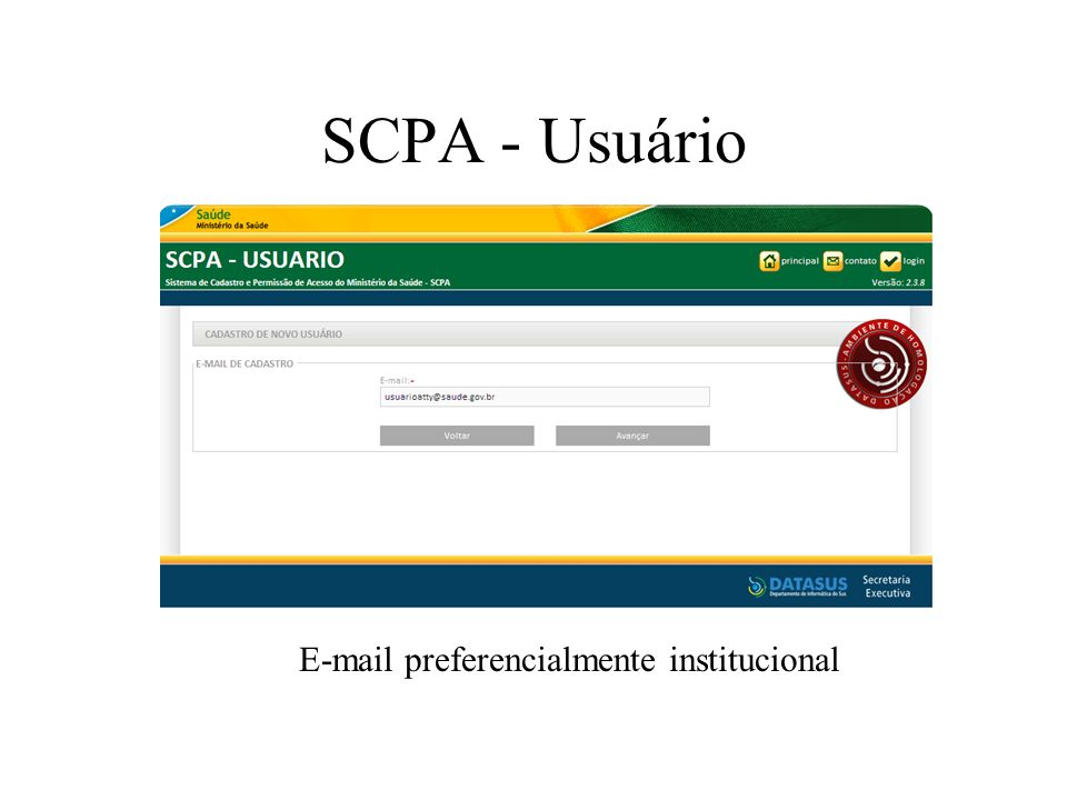 E-mail preferencialmente institucional