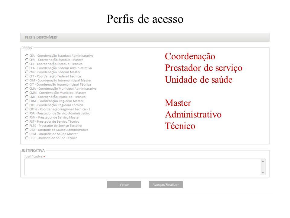 Perfis de acesso Coordenação Prestador de serviço Unidade de saúde