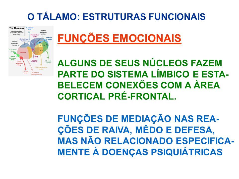 FUNÇÕES EMOCIONAIS O TÁLAMO: ESTRUTURAS FUNCIONAIS