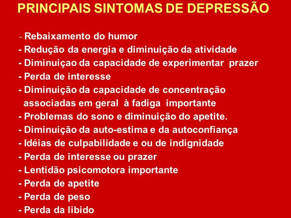 PRINCIPAIS SINTOMAS DE DEPRESSÃO
