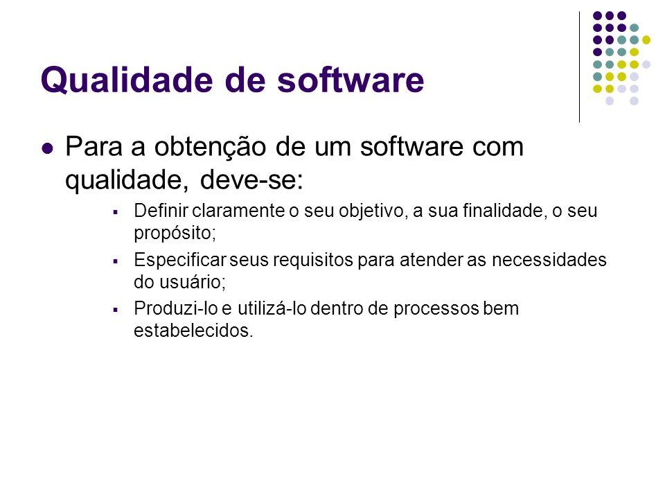 Qualidade de software Para a obtenção de um software com qualidade, deve-se: Definir claramente o seu objetivo, a sua finalidade, o seu propósito;