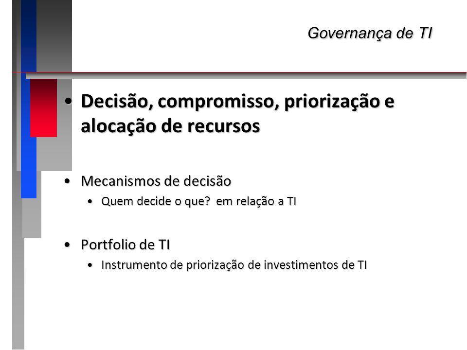 Governança de TI Decisão, compromisso, priorização e alocação de recursos. Mecanismos de decisão. Quem decide o que em relação a TI.