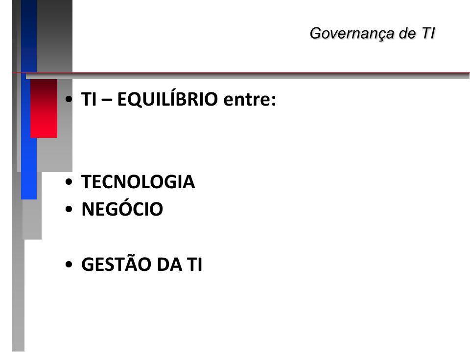 Governança de TI TI – EQUILÍBRIO entre: TECNOLOGIA NEGÓCIO