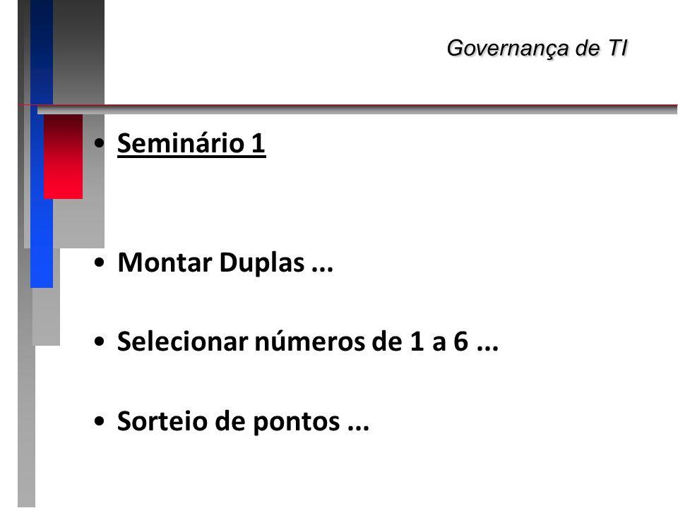 Governança de TI Seminário 1 Montar Duplas ...