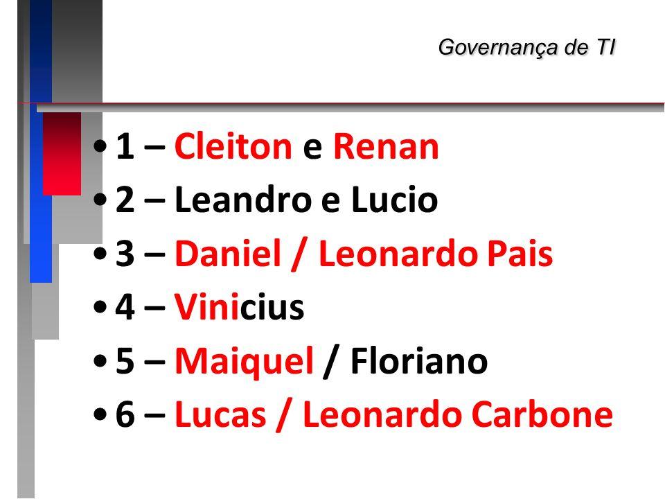 3 – Daniel / Leonardo Pais 4 – Vinicius 5 – Maiquel / Floriano