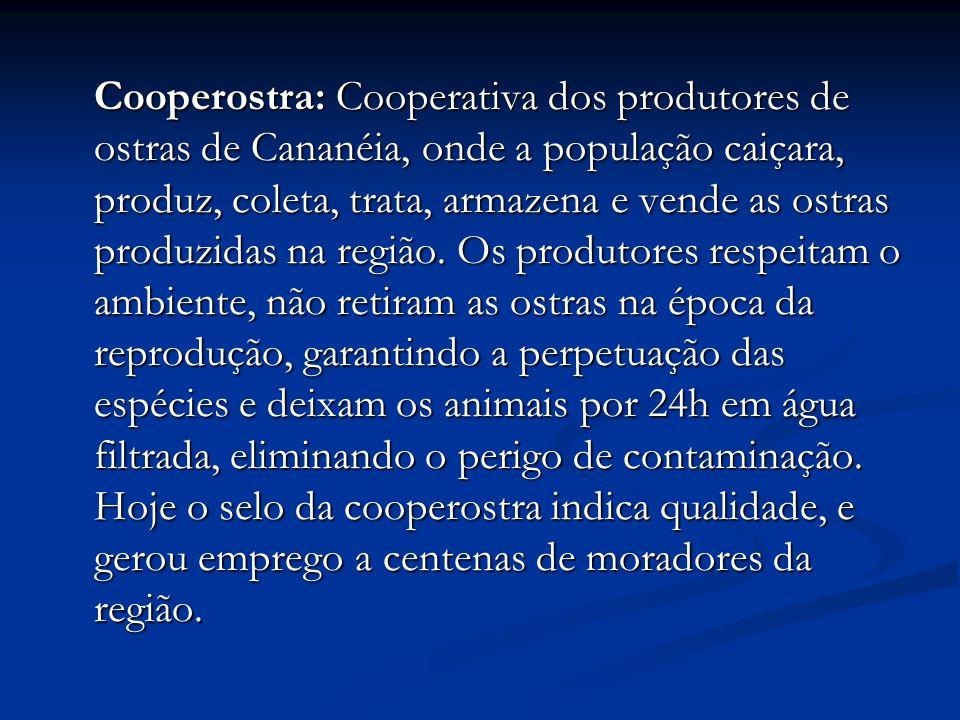 Cooperostra: Cooperativa dos produtores de ostras de Cananéia, onde a população caiçara, produz, coleta, trata, armazena e vende as ostras produzidas na região.