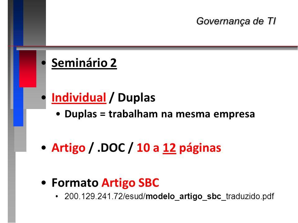 Governança de TI Seminário 2 Individual / Duplas