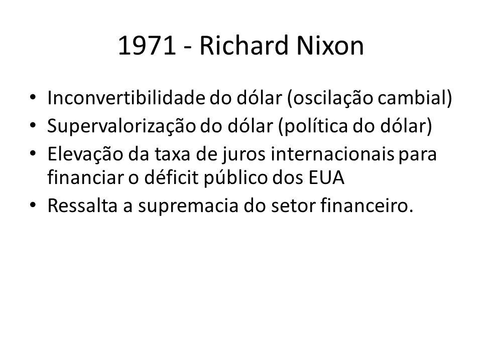 1971 - Richard Nixon Inconvertibilidade do dólar (oscilação cambial)