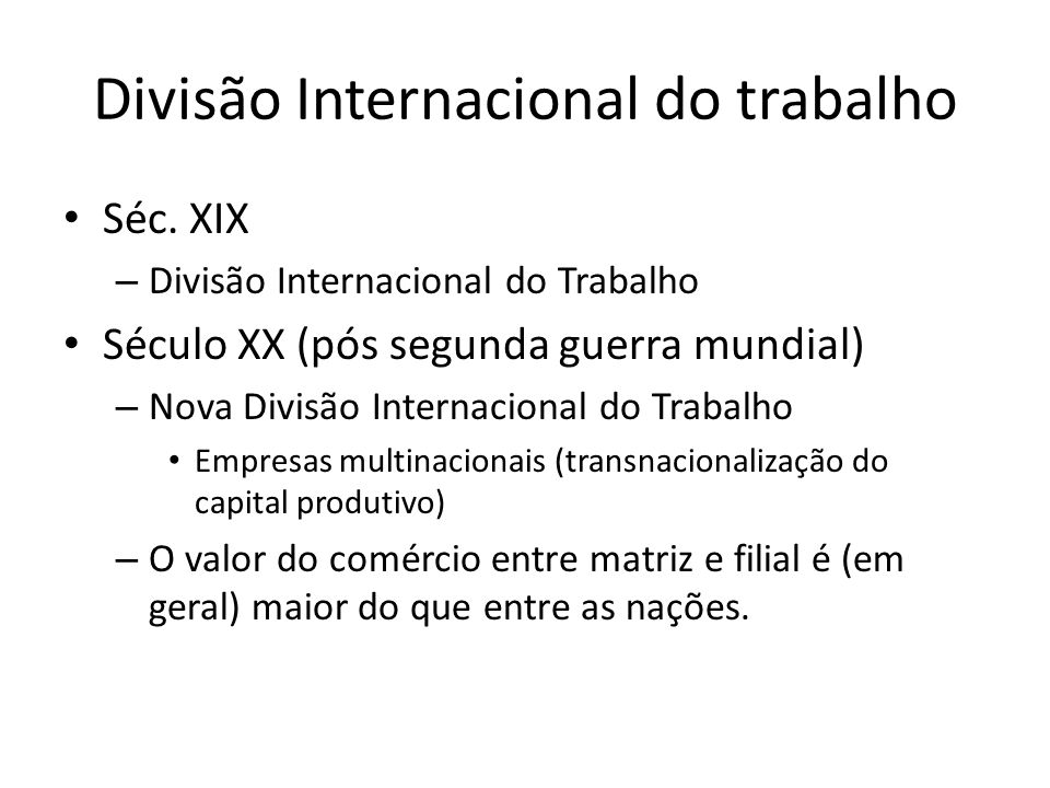Divisão Internacional do trabalho