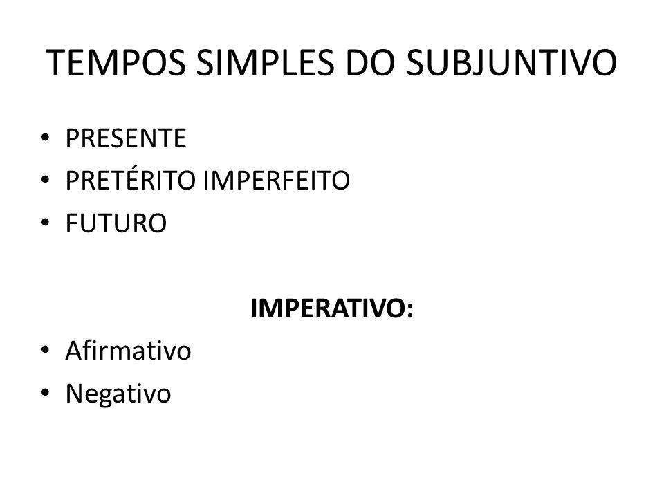 TEMPOS SIMPLES DO SUBJUNTIVO