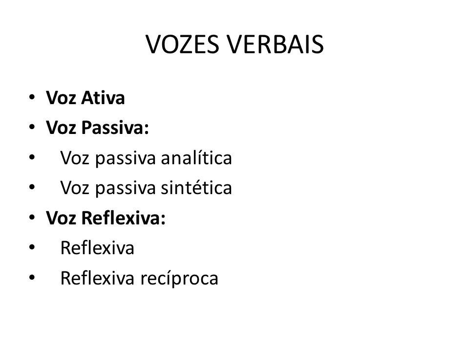 VOZES VERBAIS Voz Ativa Voz Passiva: Voz passiva analítica