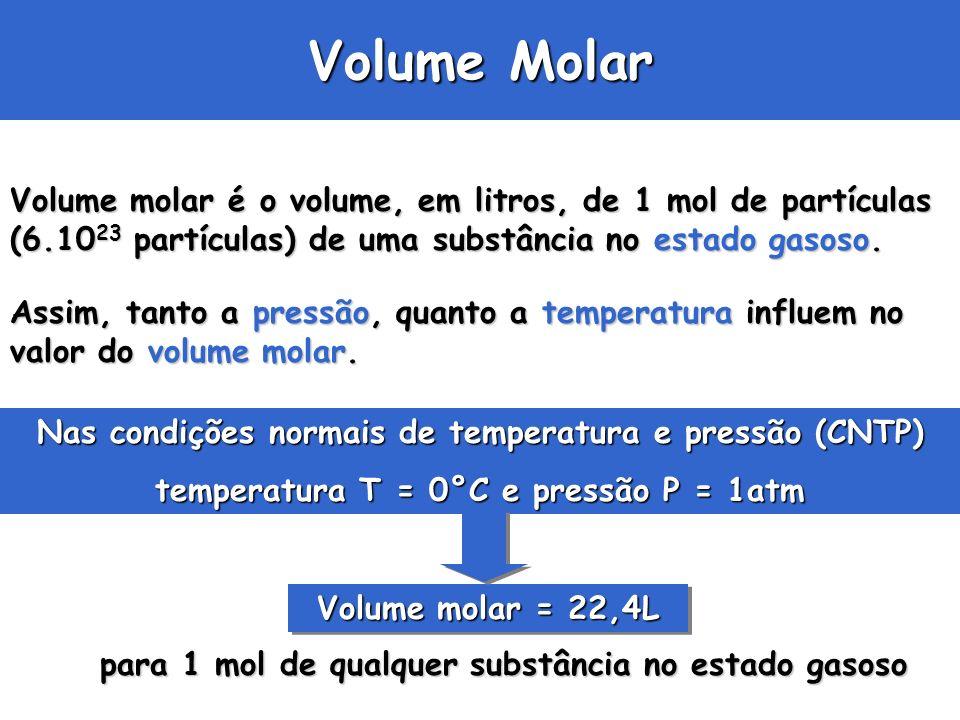 Volume Molar Volume molar é o volume, em litros, de 1 mol de partículas (6.1023 partículas) de uma substância no estado gasoso.