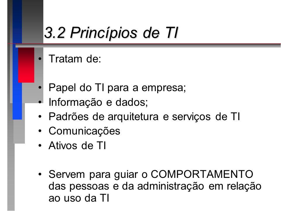 3.2 Princípios de TI Tratam de: Papel do TI para a empresa;