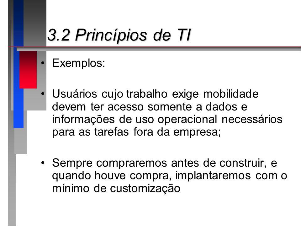 3.2 Princípios de TI Exemplos: