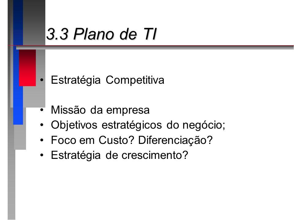 3.3 Plano de TI Estratégia Competitiva Missão da empresa