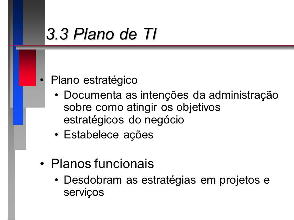 3.3 Plano de TI Planos funcionais Plano estratégico