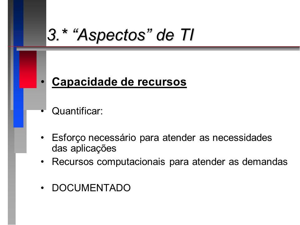 3.* Aspectos de TI Capacidade de recursos Quantificar:
