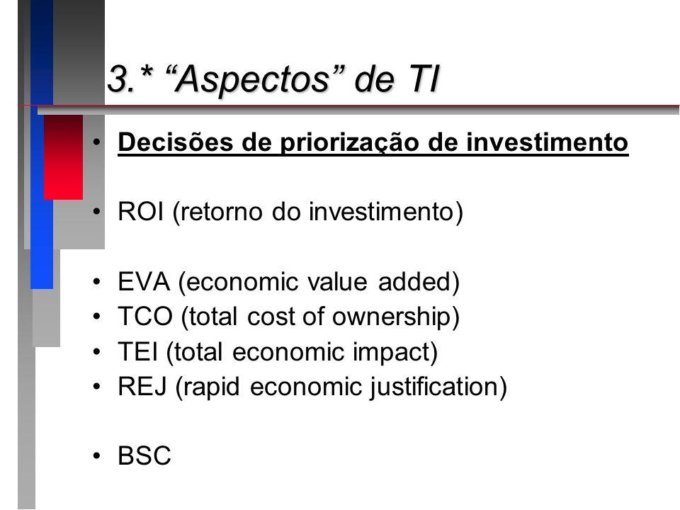3.* Aspectos de TI Decisões de priorização de investimento