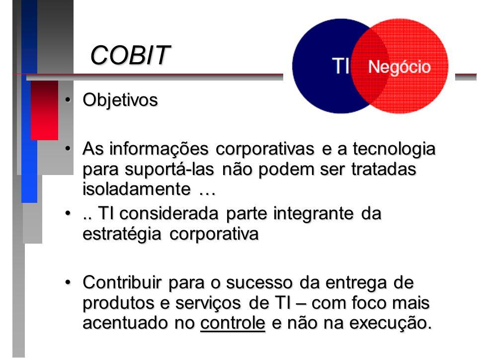 COBIT Objetivos. As informações corporativas e a tecnologia para suportá-las não podem ser tratadas isoladamente …