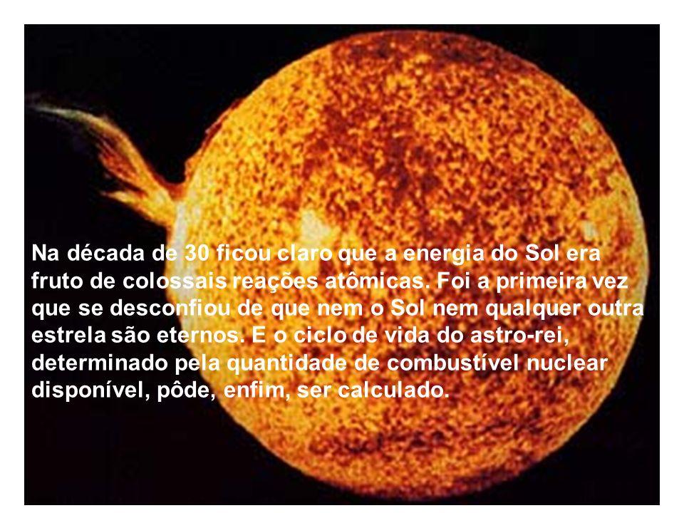 Na década de 30 ficou claro que a energia do Sol era fruto de colossais reações atômicas.