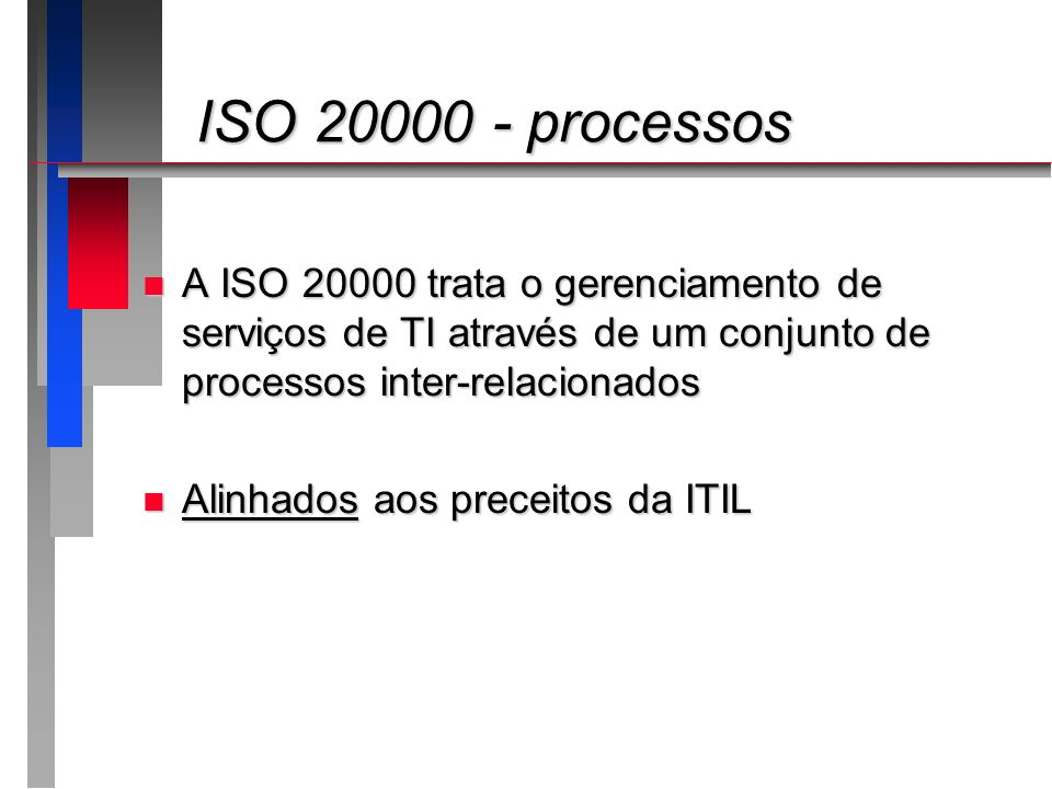 ISO 20000 - processosA ISO 20000 trata o gerenciamento de serviços de TI através de um conjunto de processos inter-relacionados.