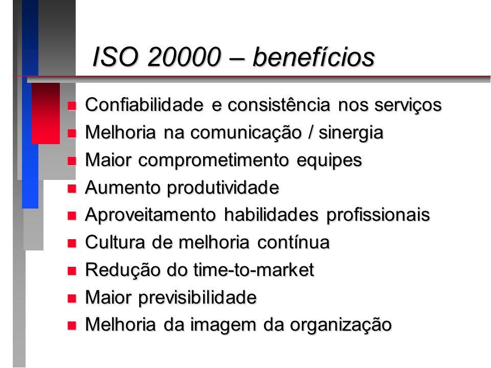ISO 20000 – benefícios Confiabilidade e consistência nos serviços
