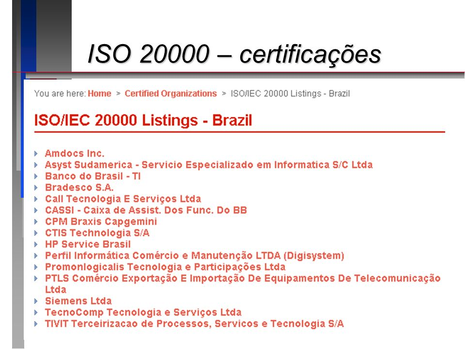 ISO 20000 – certificações Apresentando o roteiro da apresentação: