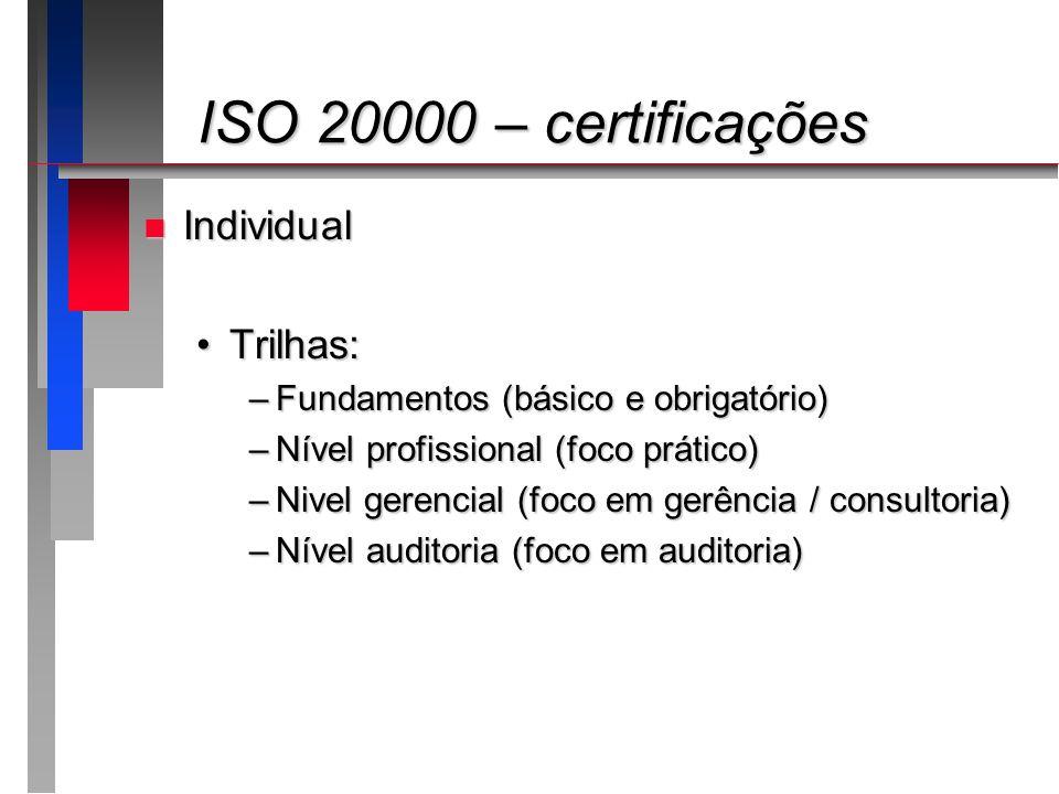 ISO 20000 – certificações Individual Trilhas: