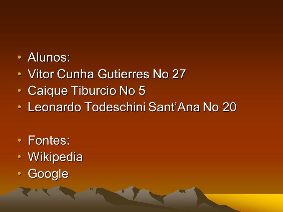 Alunos: Vitor Cunha Gutierres No 27. Caique Tiburcio No 5. Leonardo Todeschini Sant'Ana No 20. Fontes: