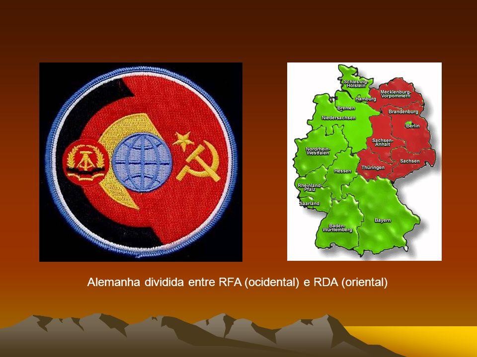 Alemanha dividida entre RFA (ocidental) e RDA (oriental)