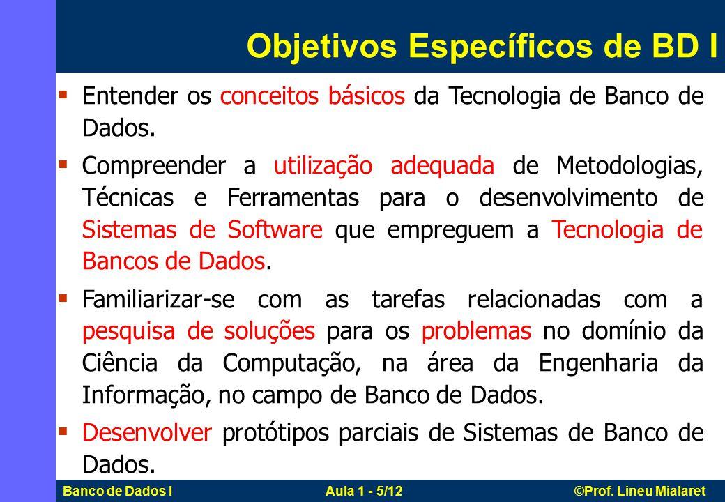 Objetivos Específicos de BD I
