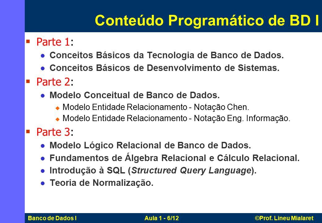 Conteúdo Programático de BD I