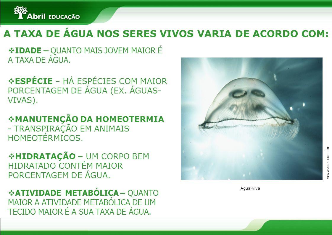 A TAXA DE ÁGUA NOS SERES VIVOS VARIA DE ACORDO COM:
