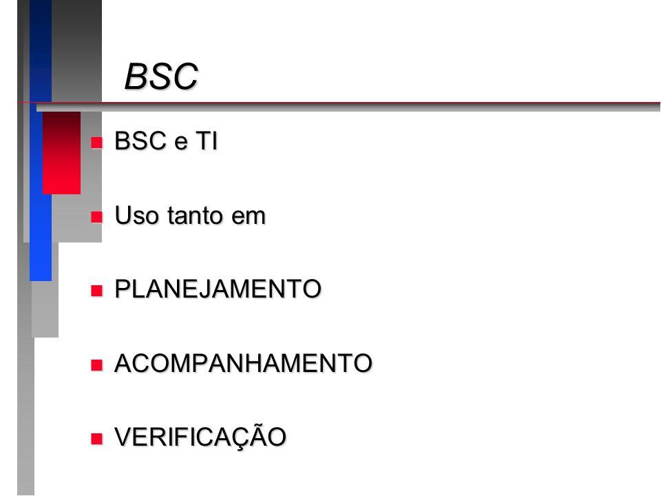 BSC BSC e TI Uso tanto em PLANEJAMENTO ACOMPANHAMENTO VERIFICAÇÃO