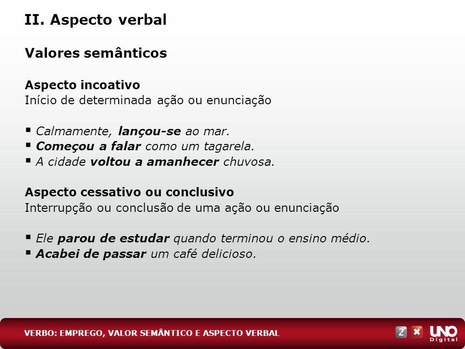 II. Aspecto verbal Valores semânticos Aspecto incoativo