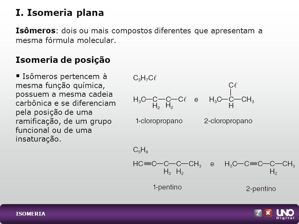 I. Isomeria plana Isomeria de posição