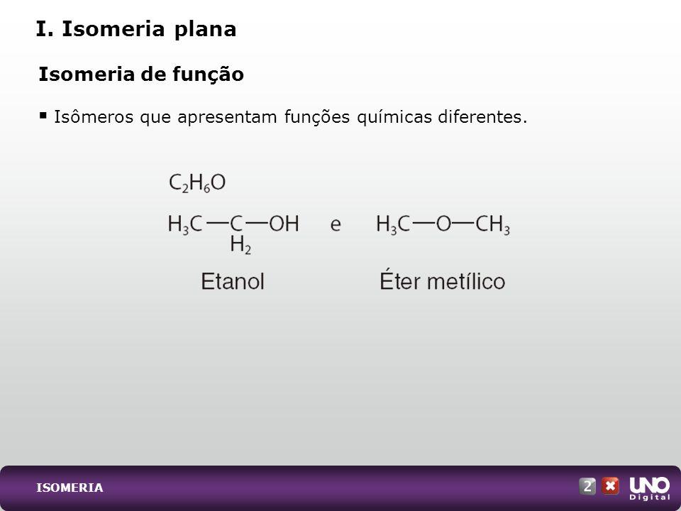 I. Isomeria plana Isomeria de função